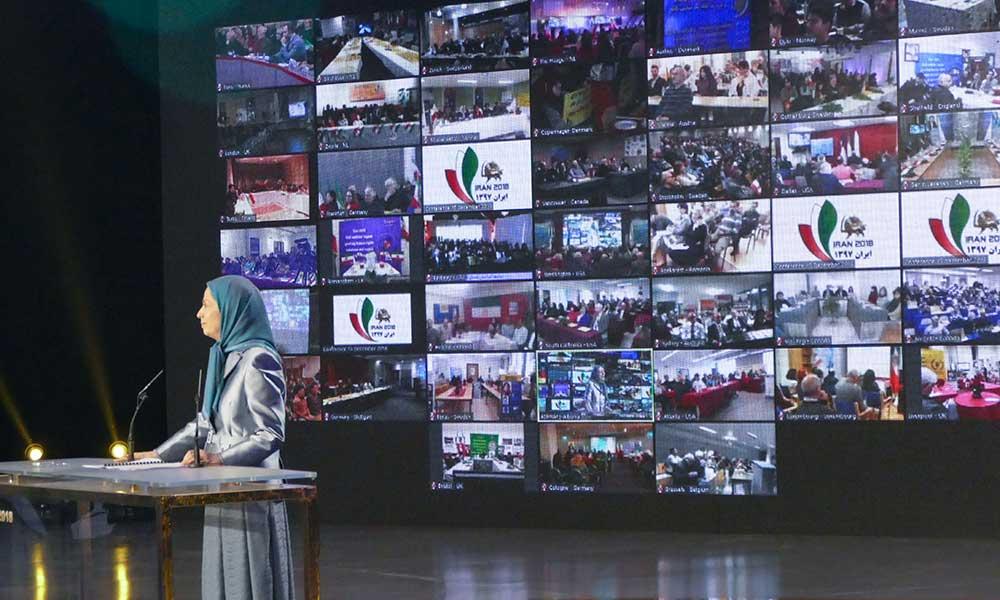 كلمة مريم رجوي في المؤتمر الدولي للجاليات الإيرانية: نظام ولاية الفقيه لن يجد مخرجاً للهروب من السقوط