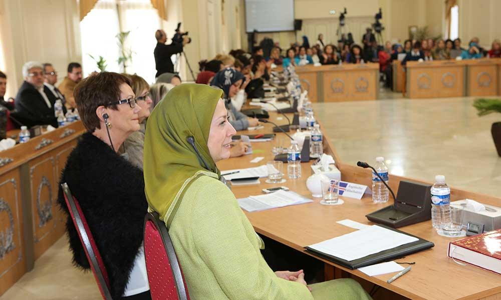 كلمة مريم رجوي في المؤتمر الدولي لمناسبة اليوم العالمي للمرأة في المقر المركزي للمجلس الوطني للمقاومة الايرانية