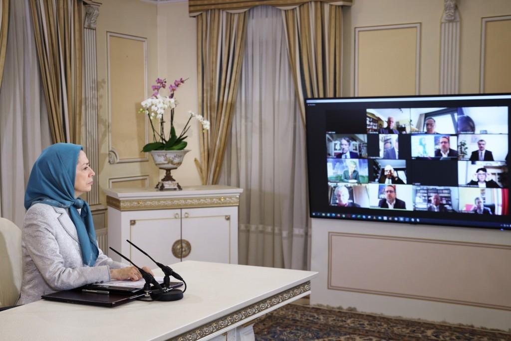 مؤتمر عبر الإنترنت لرئيسة الجمهورية المنتخبة من قبل المقاومة الإيرانية، بمشاركة أعضاء من الجمعية الوطنية الفرنسية، بدعوة من اللجنة البرلمانية من أجل إيران ديمقراطية