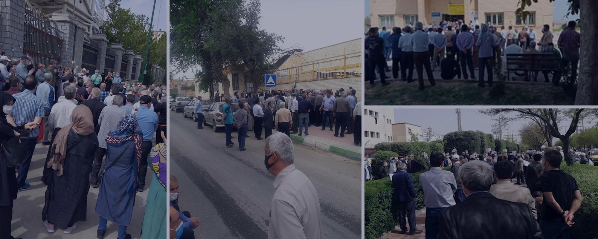 متقاعدون يحتجون وينهضون للمرة الثالثة في العام الجديد في 27 مدينة (20 محافظة) إيرانية