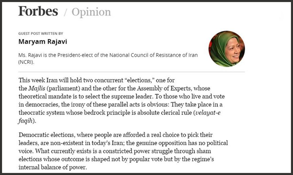 Forbes- February 26, 2016 No Real Choice In The Iran 'Elections' By Maryam Rajavi