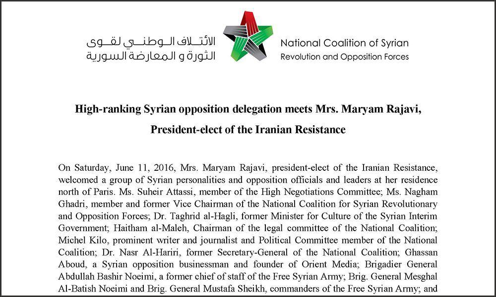 High-ranking Syrian opposition delegation meets Maryam Rajavi
