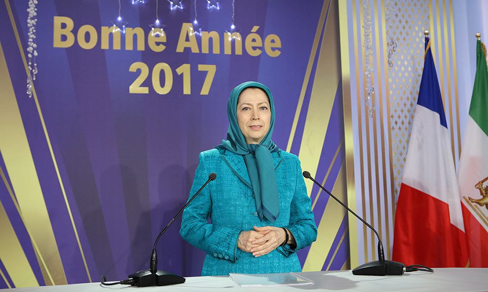 Maryam Rajavi at the New Year celebration with elected representatives in France and French supporters of the Iranian Resistance