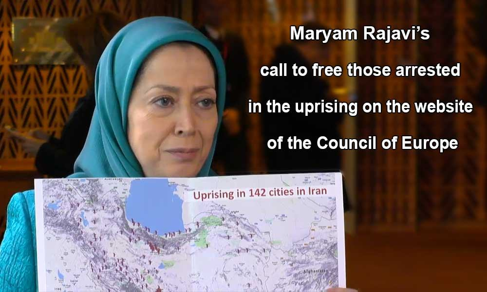 Maryam Rajavi's call to free those arrested in the uprising on the website of the Council of Europe