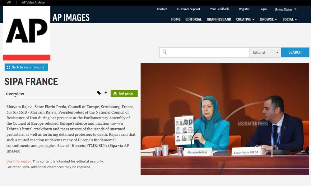Maryam Rajavi, Sezar Florin Preda, Council of Europe, Strasbourg, France, 24/01/2018
