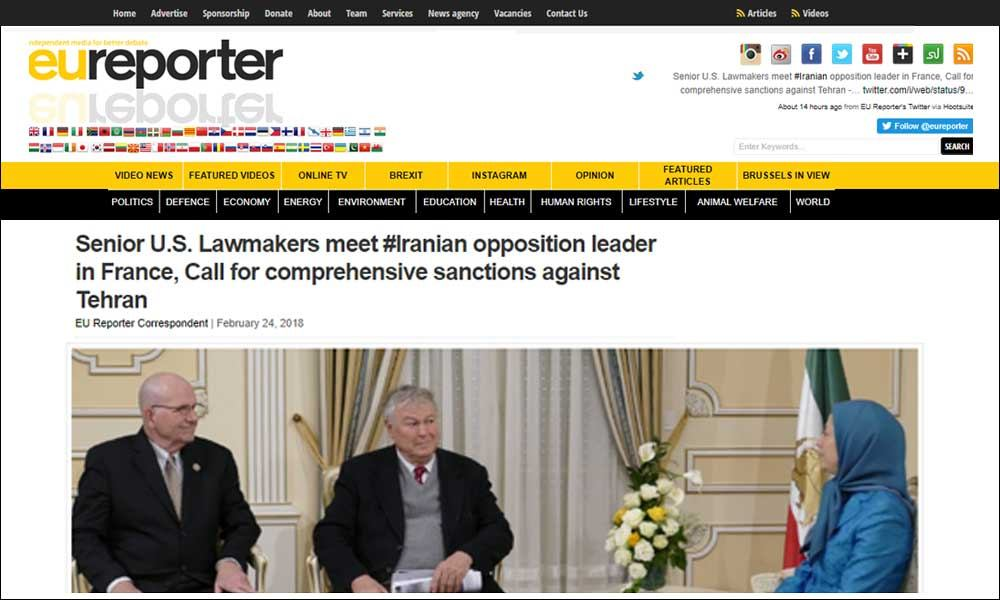 Senior U.S. Lawmakers meet #Iranian opposition leader in France, Call for  comprehensive sanctions against Tehran