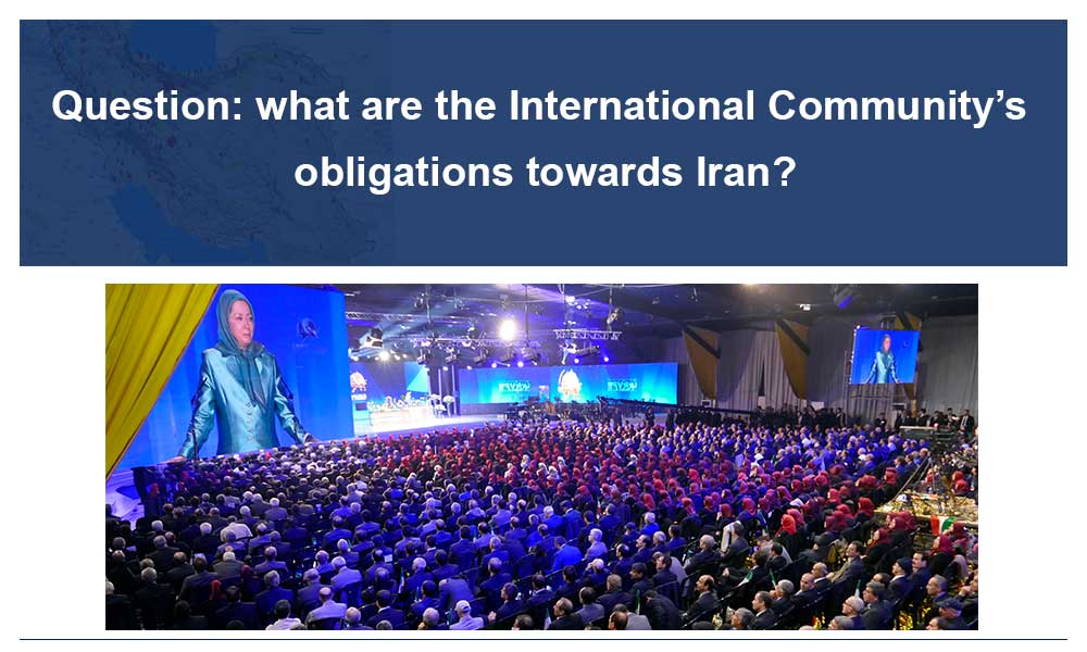 Question: what are the International Community's obligations towards Iran?