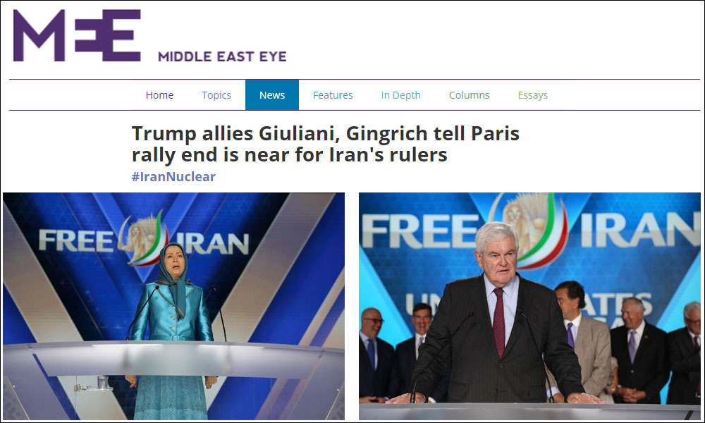 Trump allies Giuliani, Gingrich tell Paris rally end is near for Iran's rulers