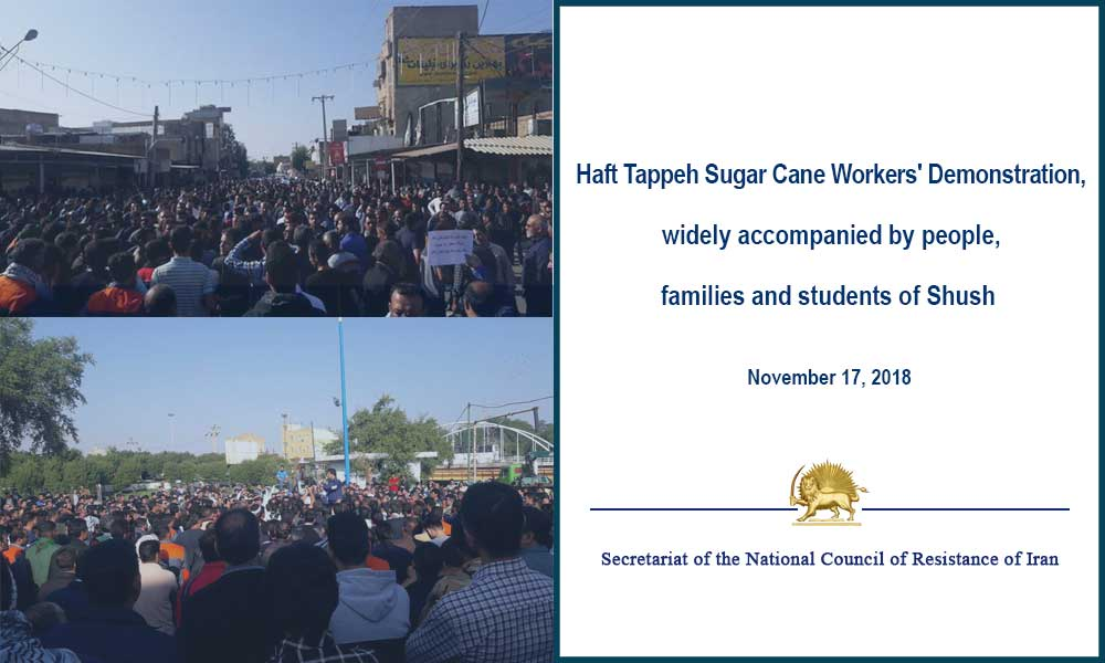 Haft Tappeh Sugar Cane Workers' Demonstration, widely accompanied by people, families and students of Shush