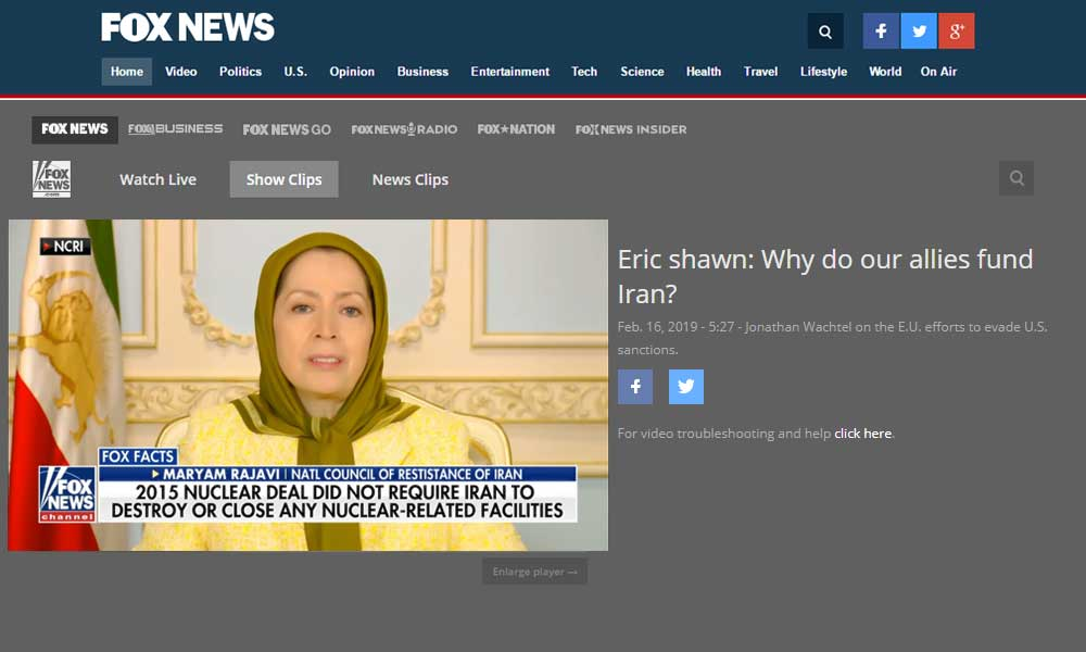 Maryam Rajavi on Fox NEWS: The international community must recognize the right and the aspirations of the Iranian people to topple the mullahs' regime