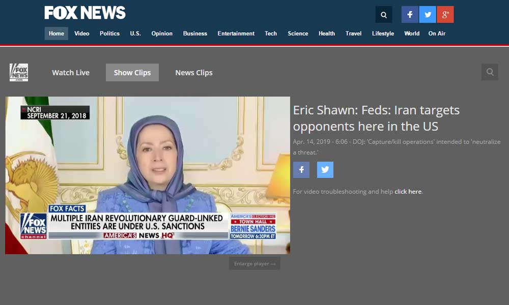 Maryam Rajavi on Fox NEWS:  We urge western governments to shut down the Iranian regime's embassies which are control centers for espionage and terrorism