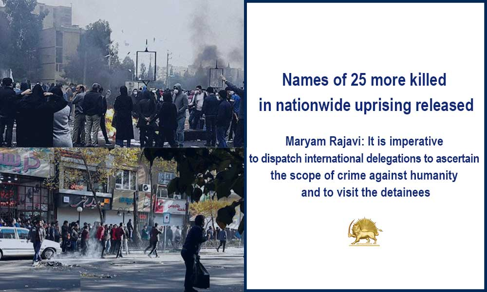 Names of 25 more killed in nationwide uprising released
