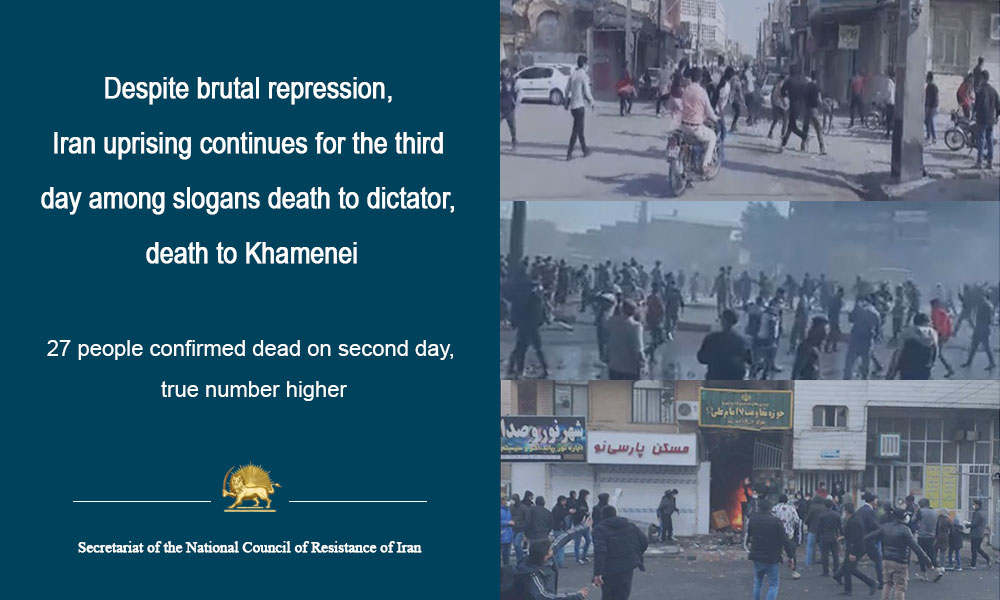 Despite brutal repression, Iran uprising continues for the third day among slogans death to dictator, death to Khamenei