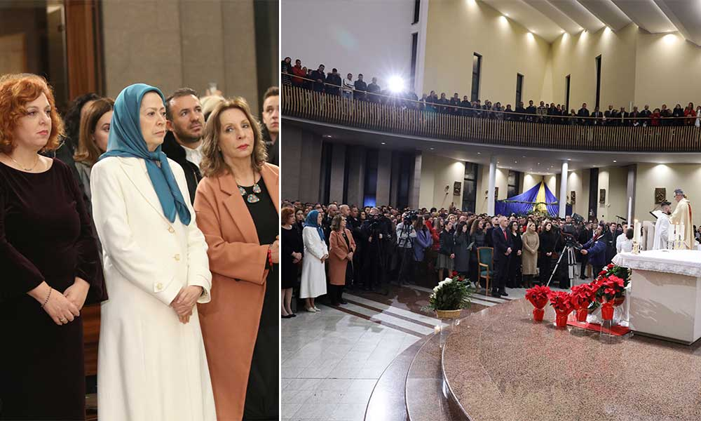 Maryam Rajavi at the Christmas Eve mass at Tirana's Saint Paul Metropolitan Archdiocese