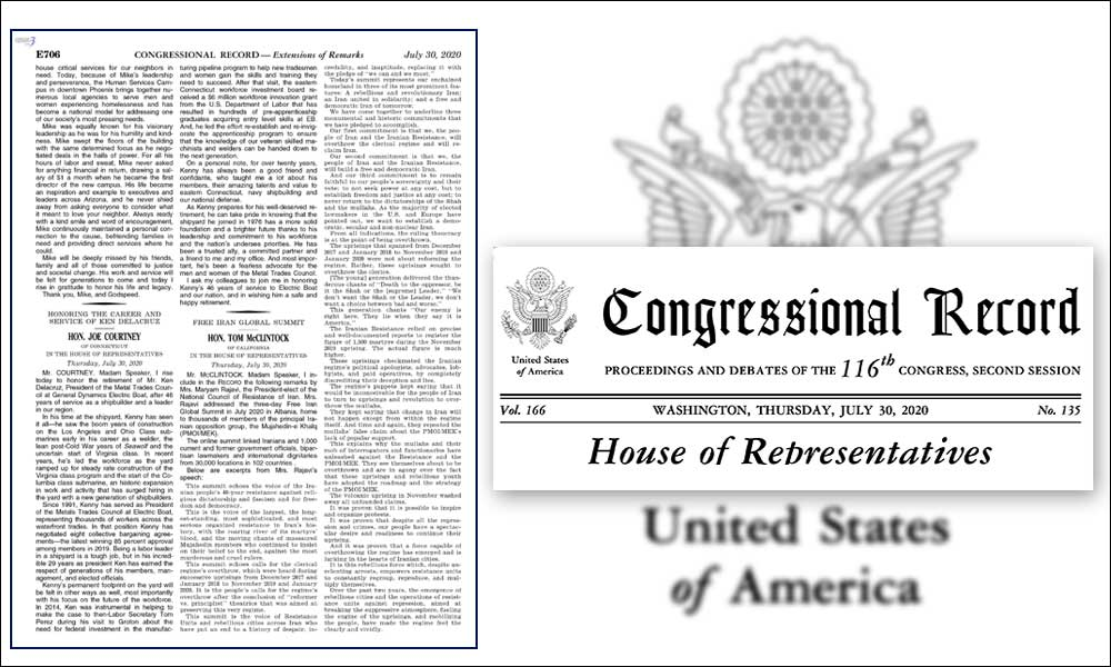 Registered in the US Congressional Record – Maryam Rajavi's speech to the Free Iran Global Summit