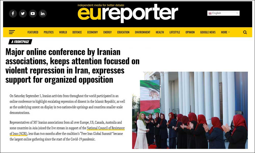 Major online conference by Iranian associations, keeps attention focused on violent repression in Iran, expresses support for organized opposition