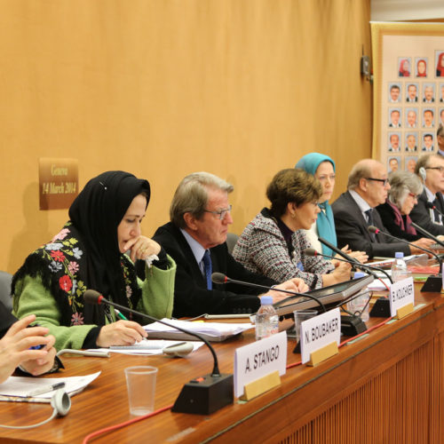 Maryam Rajavi at the United Nations Headquarters in Geneva on March 14, 2014