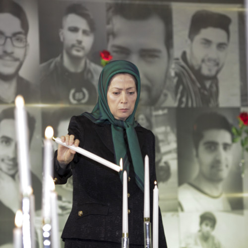 Lighting candles in the memory of November 2019 uprising