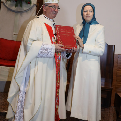 Maryam Rajavi presented the list of 20,000 PMOI martyrs and a Last Supper painting to Archbishop George Anthony Frendo