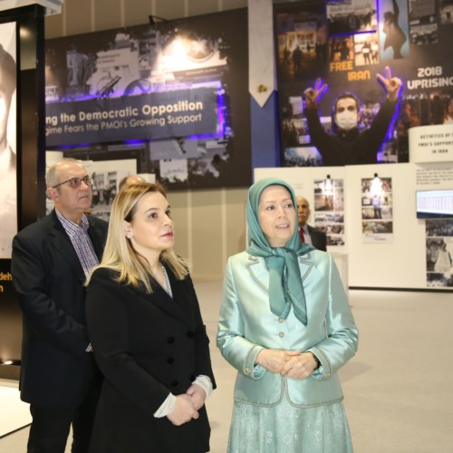 Maryam Rajavi, Monika Kryemadhi and her accompanying delegation visit the museum of 120 Years of the Iranian people's Struggle for Freedom