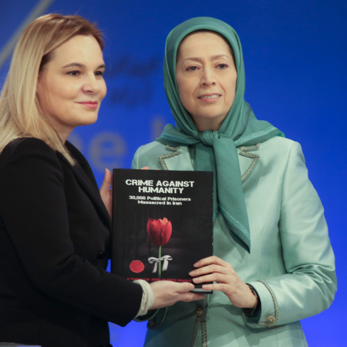 Presenting the book of Crime Against Humanity – 1988 Massacre to Mrs. Kryemadhi
