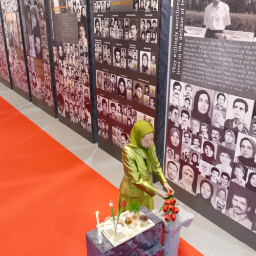 In her New Year visit to the exhibition of the Iranian people's 120 years of struggle for freedom, Maryam Rajavi laid flowers for 120,000 martyrs of the Iranian Resistance
