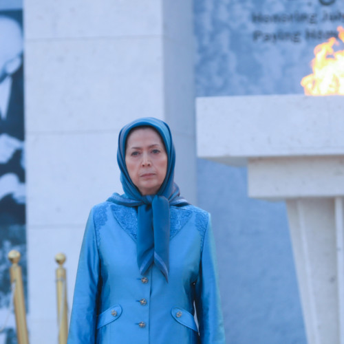 Maryam Rajavi, in ceremony to commemorate July 20 anniversary of Iranians' historic uprising in 1952 in honor of Dr. Mohammad Mosaddeg – Ashraf 3, July 17, 2020.