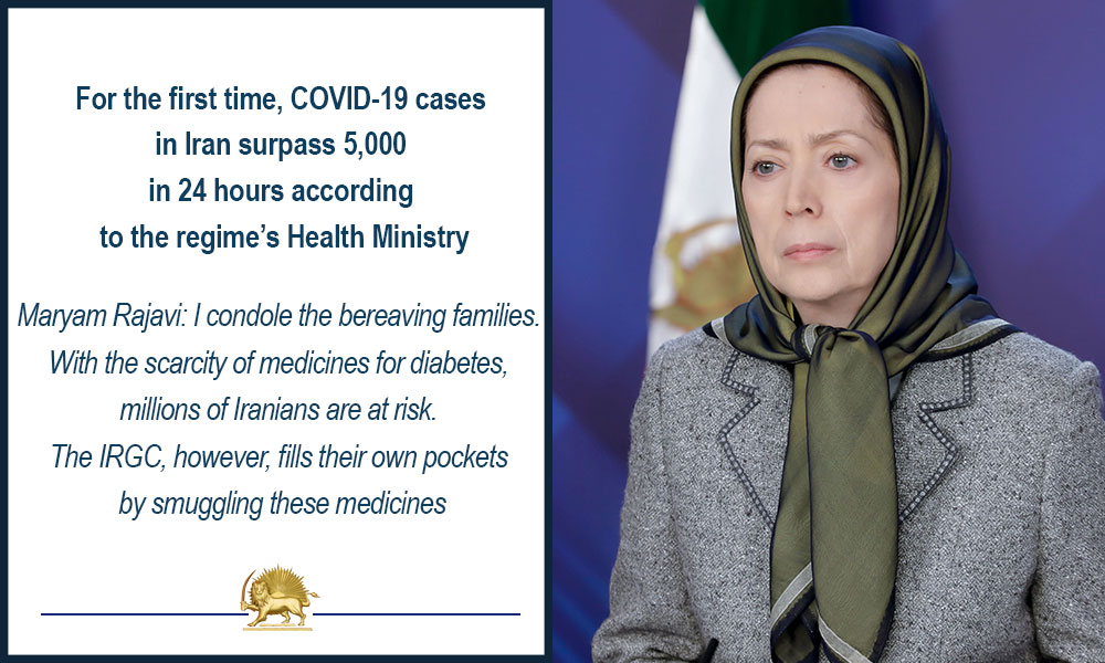 For the first time, COVID-19 cases in Iran surpass 5,000 in 24 hours according to the regime's Health Ministry