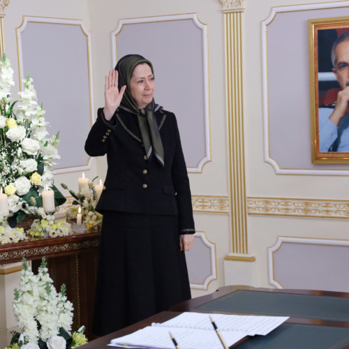Maryam Rajavi pays tribute to Iran's national hero, Air Force Pilot, Colonel Behzad Mo'ezzi, in the presence of members of the National Council of Resistance of Iran and PMOI members at Ashraf 3 – January 2021