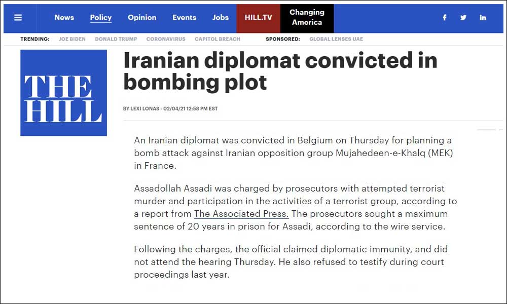 Iranian diplomat convicted in bombing plot