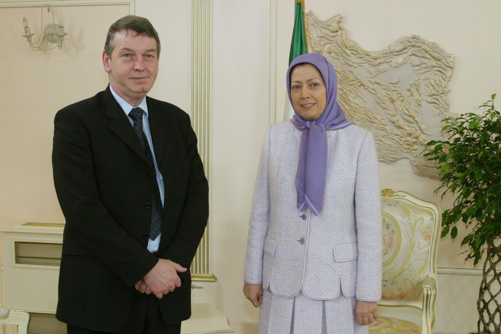 Jean-Pierre Malmendier Member of Parliament from Belgium meets Mrs. Maryam Rajavi