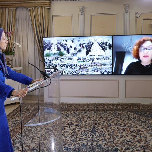 Elona Gjebrea, Secretary of the Albanian Parliament Foreign Affairs Committee, speaks to the conference, Arab-Islamic Solidarity with the Iranian people and Resistance