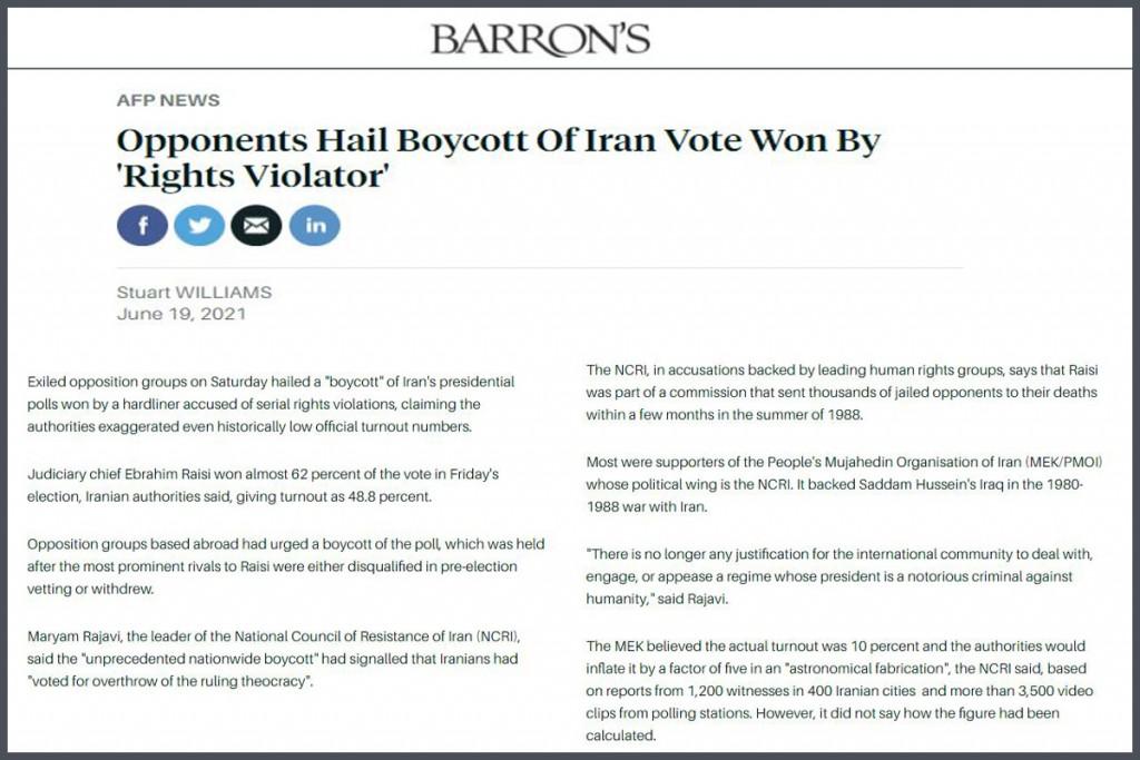 Opponents Hail Boycott Of Iran Vote Won By 'Rights Violator'