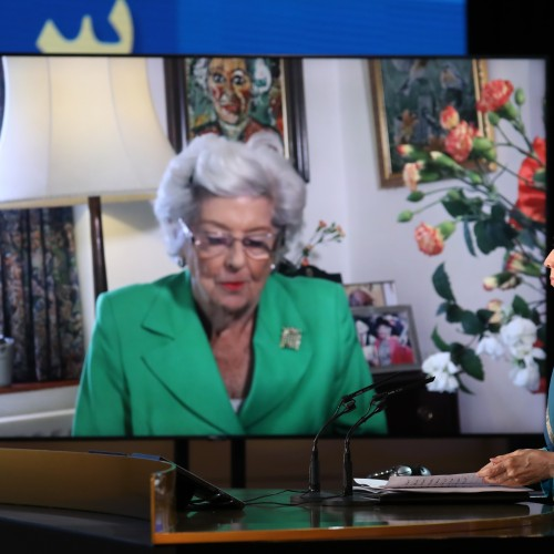 Baroness Betty Boothroyd, former Speaker of the House of Commons speaks at the second day of the Free Iran World Summit - Europe – Arab World Stand with the Resistance - July 11, 2021