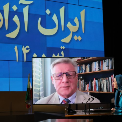Steve McCabe, British MP for Birmingham Selly Oak since 2010 speaks at the second day of the Free Iran World Summit - Europe – Arab World Stand with the Resistance - July 11, 2021