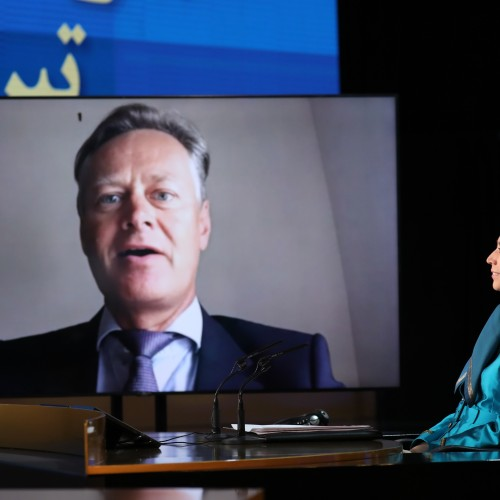 Dr. Matthew Offord, MP for Hendon speaks at the second day of the Free Iran World Summit - Europe – Arab World Stand with the Resistance - July 11, 2021