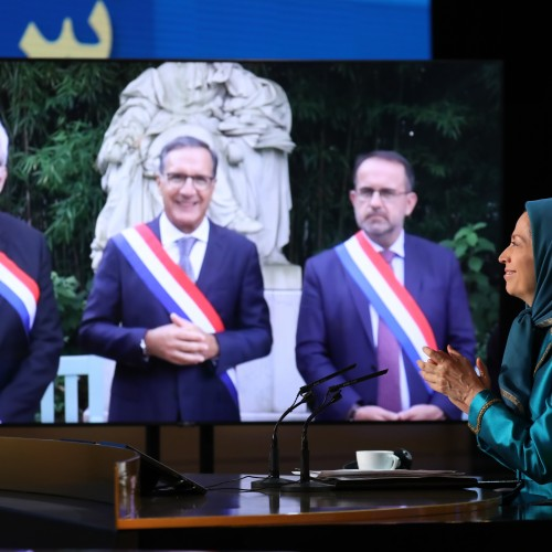 French MPs Herve Saulignac - André Chassaigne and Yannick Favennec, member of the Defense Committee of the French Parliament at the second day of the Free Iran World Summit - Europe – Arab World Stand with the Resistance - July 11, 2021