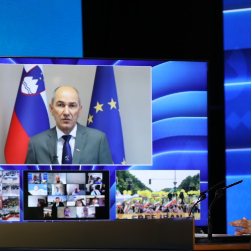 Janez Janša, Prime Minister of Slovenia speaks at the first day of the Free Iran World Summit - The Democratic Alternative on the March to Victory- July 10, 2021