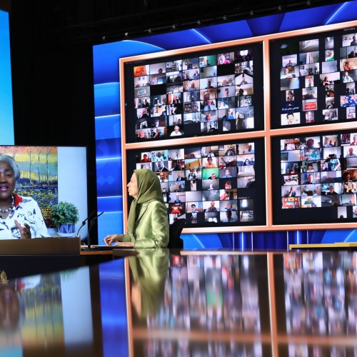 Donna Brazile, Chair of the Democratic National Committee (2016-2017) speaks at the first day of the Free Iran World Summit - The Democratic Alternative on the March to Victory- July 10,