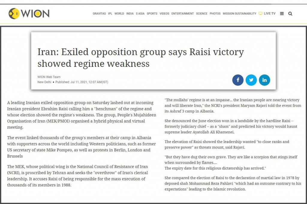 Iran: Exiled opposition group says Raisi victory showed regime weakness
