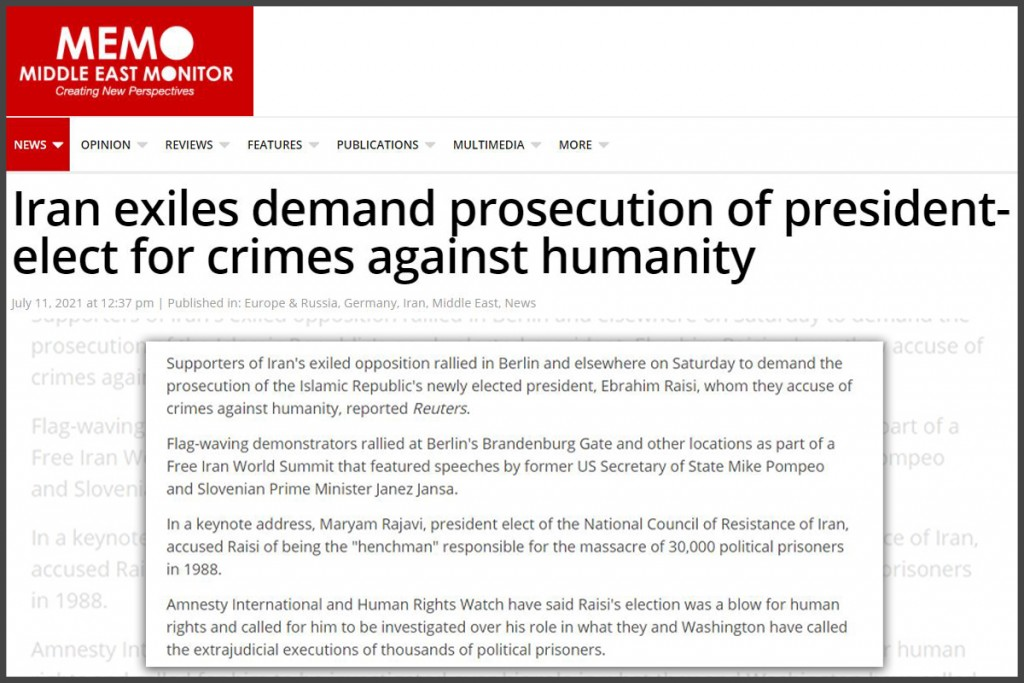 Iran exiles demand prosecution of president-elect for crimes against humanity