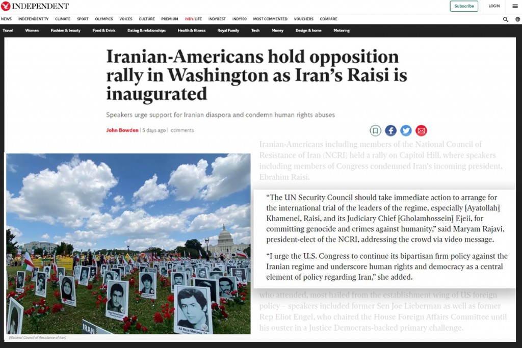 The Independent: Iranian-Americans hold opposition rally in Washington as Iran's Raisi is inaugurated