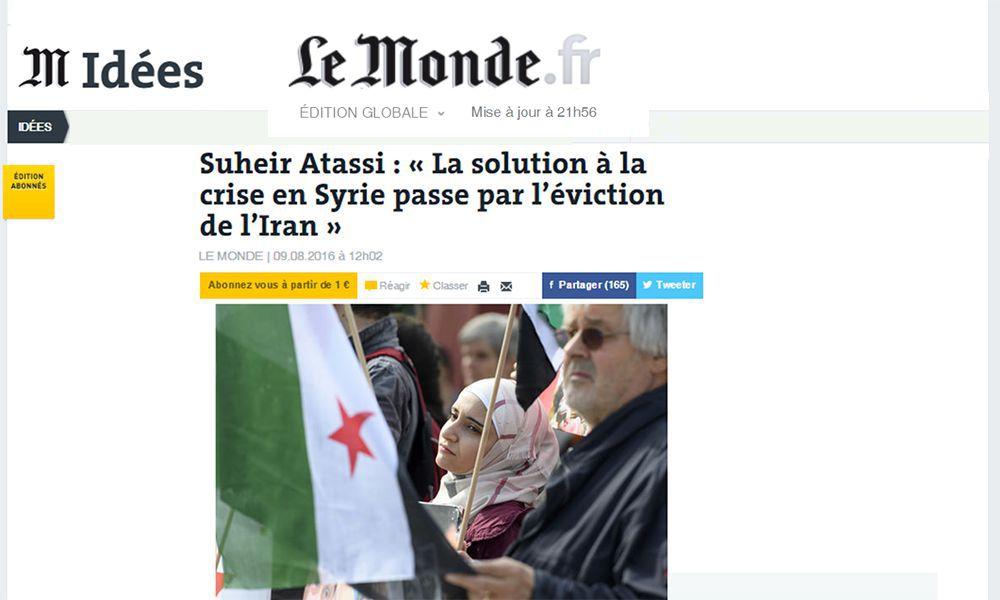 Suheir Atassi : « La solution à la crise en Syrie passe par l'éviction de l'Iran »