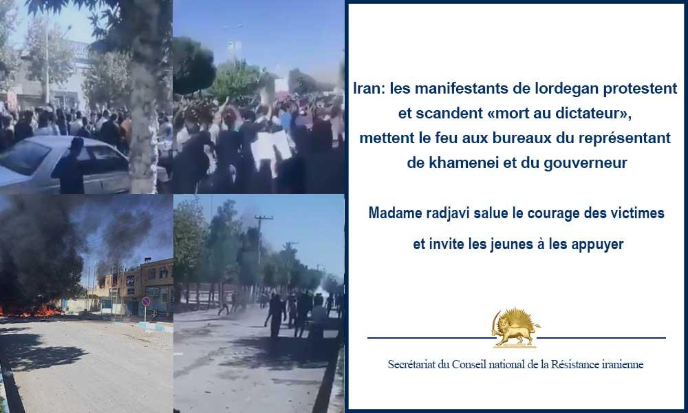 Iran: les manifestants de lordegan protestent et scandent «mort au dictateur», mettent le feu aux bu
