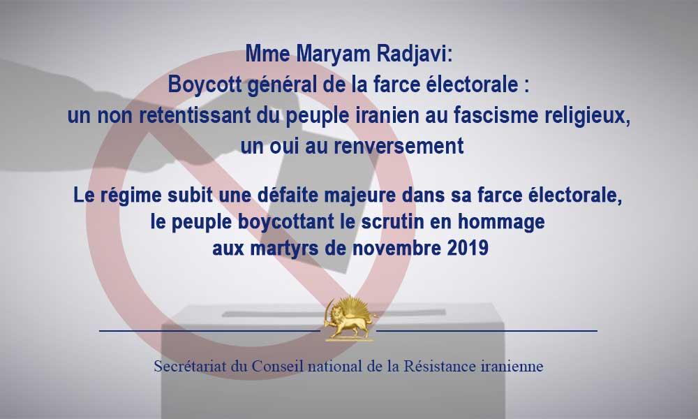Mme Maryam Radjavi: Boycott général de la farce électorale : un non retentissant du peuple iranien a