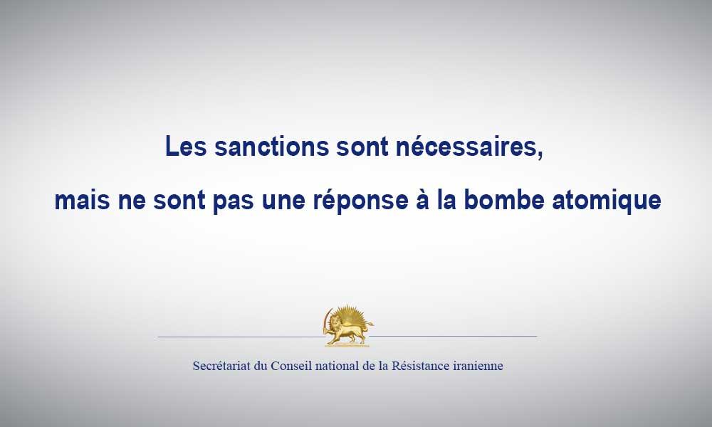 Les sanctions sont nécessaires, mais ne sont pas une réponse à la bombe atomique