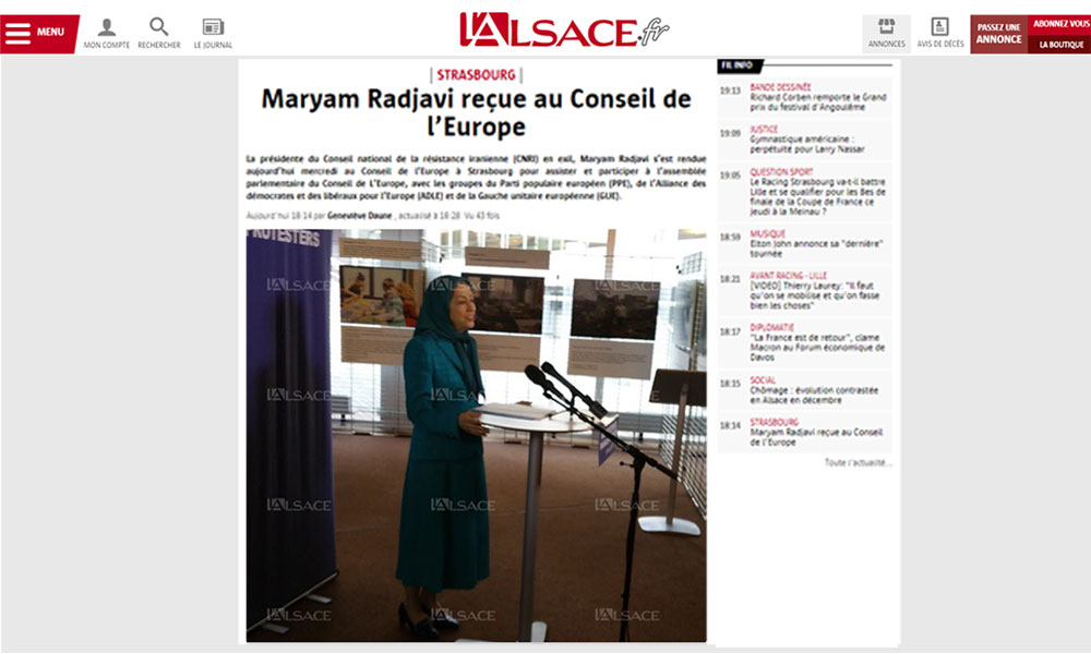 Maryam Radjavi reçue au Conseil de l'Europe