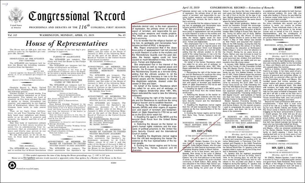 Le journal officiel du Congrès américain publie le communiqué de Maryam Radjavi-  Dans ce communiqué, Maryam Radjavi salue l'inscription du Corps des gardiens de la révolution (CGRI) sur la liste des organisations terroristes étrangères (FTO)