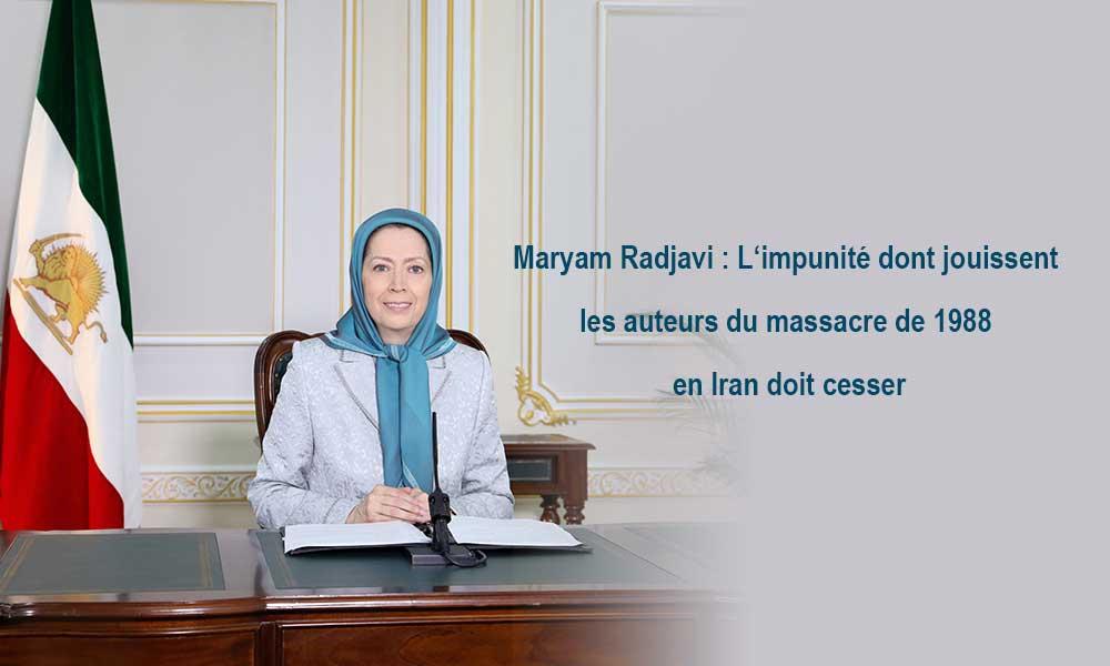 Maryam Radjavi : L'impunité dont jouissent les auteurs du massacre de 1988 en Iran doit cesser