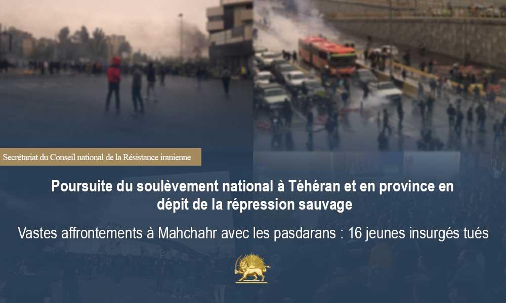 Poursuite du soulèvement national à Téhéran et en province en dépit de la répression sauvage